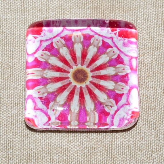 One Super Strong Jumbo Square Glass Mandala Magnet -- Pink