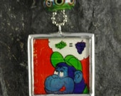 Necklace Vintage Cartoon Grape Ape Solder Art Pendant with Lampwork Bead and Chain