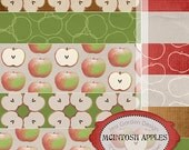 "McIntosh Apples Digital Scrapbook Paper  --12--, 12""x12"" Digital Papers"