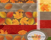 "Colorful Leaves Digital Scrapbook Paper  --12--, 12""x12"" Digital Papers"