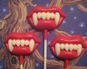 24-Chocolate Lips With Fangs Lollipop Favors For Halloween