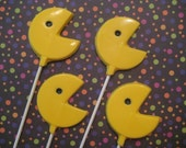 24 Chocolate Pac Man Lollipop Favors