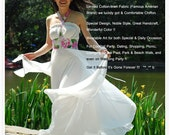 Custom Fairy Party Dress Romantic White Floral Chiffon Cotton Long Evening Halter Maxi Gown