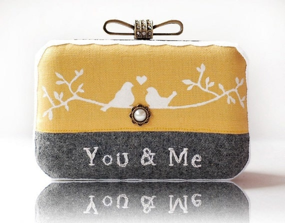 Love Bird You & Me Wool Embroidered Box Clutch Hand Painted Cotton Linen Lace Yellow Grey Brides Bridemaids Wedding Gift  Minaudiere