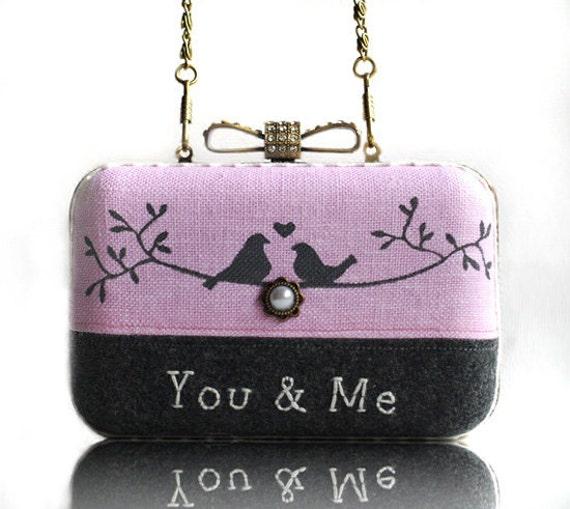 Love Bird Wool Embroidered Box Clutch Hand Painted Linen Messenger Chain Bag Pink Grey Wedding Gift Minaudiere