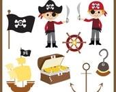 Cute Pirate  Clipart Set - Boy Pirate Clipart Set