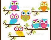 Sweet Owl Clipart Set