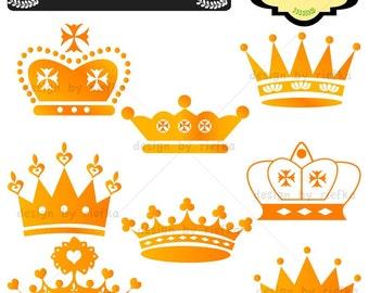 Golden Crown Clip art, elements, scrap booking, paper craft