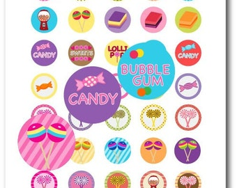 Candy Party - 1 Inch Circles Digital Collage Sheet (PDF & JPG)