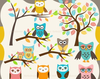 Owl and Trees Clipart Set