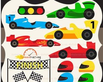 Racing Cars Clipart Set
