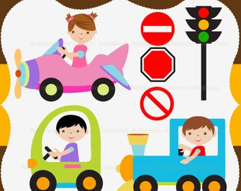 Little Kid Vehicle Digital Clipart Set - Personal and Commercial Use - Scrapbooking, card design, web design
