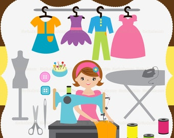 Little Girl Learn to Sew Clipart Set