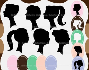 Beautiful Woman Silhouettes Digital Clipart Set - Personal and Commercial Use - Scrapbooking, card design, web design