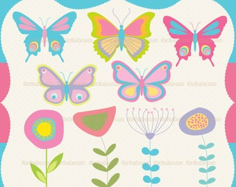 Butterfly and Flowers Digital Clipart Set - Personal and Commercial Use - Scrapbooking, card design, web design