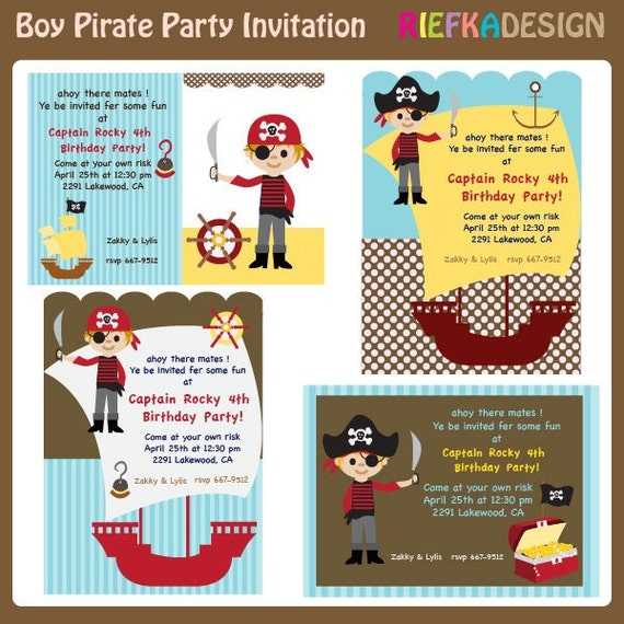 Boy Pirate Invites Blank Invitation Template For Printed
