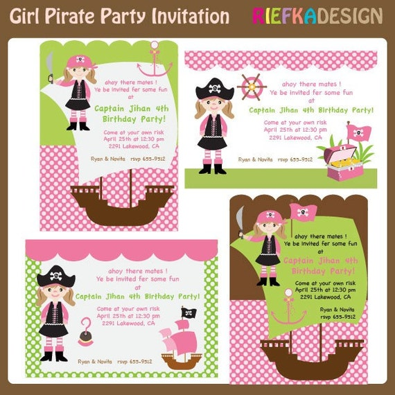 Items Similar To Girl Pirate Invites