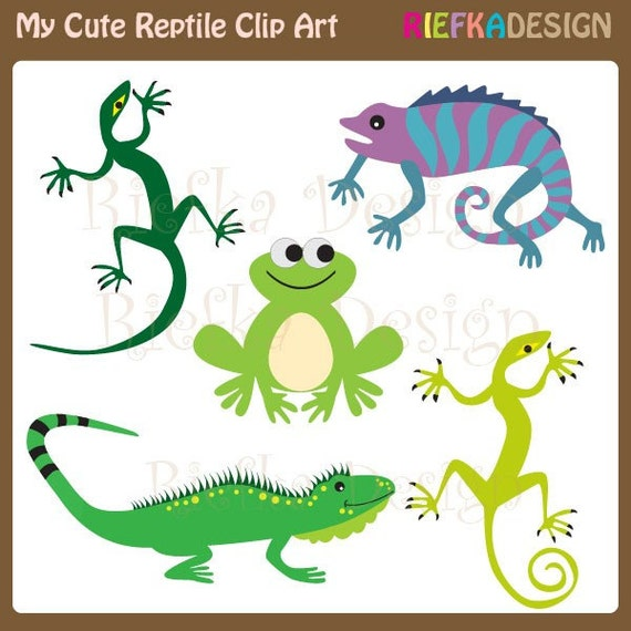 My Cute Reptile Clipart Set from riefka on Etsy Studio Cute Reptiles Clipart