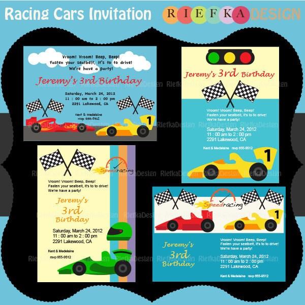 racing cars invitation race cars invites blank invitation, Birthday invitations