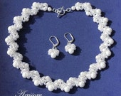 Bridal SET - Royal Style Double Sided 2 in 1 WHITE Or IVORY Pearls And Seed Beads Woven Bridal Necklace And Earrings