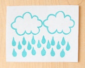 Cloud With A Chance Of Raindrops Hand Carved Rubber Stamp for Acrylic Blocks