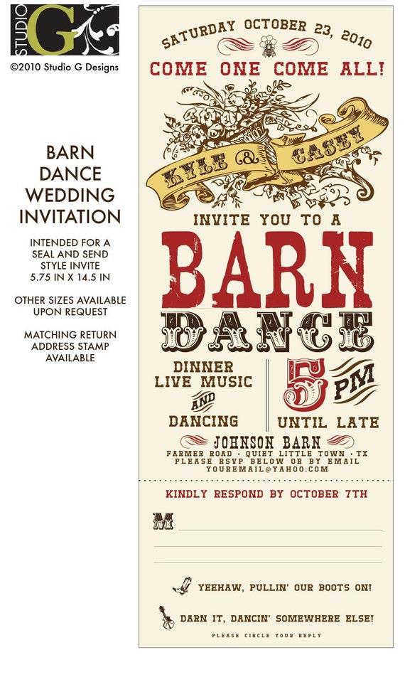 vintage barn dance wedding invitation by studiogdesigns on