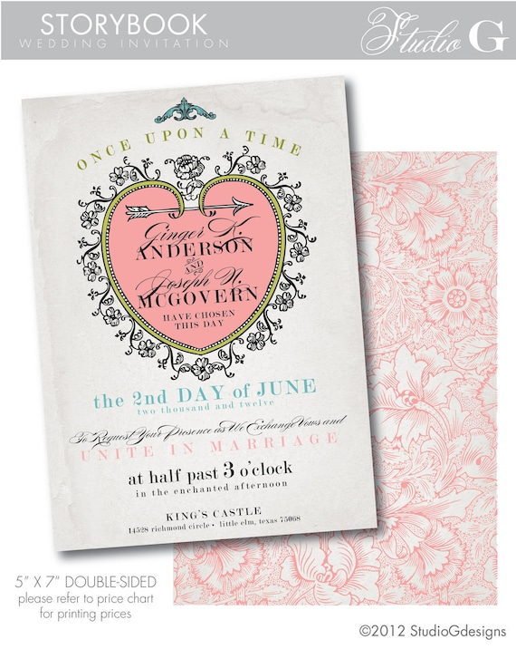 Storybook Wedding Gift : STORYBOOK Fairytale Wedding Invitation - printable wedding invitation