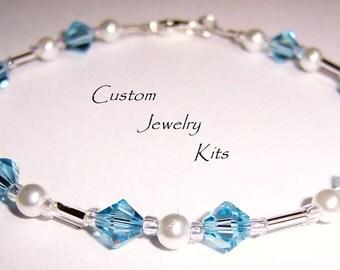 aquamarine, lavender, pink, Swarovski crystal, pearl bracelet KIT, may birthstone bracelet aqua, may birthday bracelet kit, may crystal gift