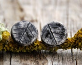 SALE -  Black leaves oversized ceramic ear studs - last pair