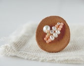 Abundance - ring - terracotta, coral, pearls, sterling silver base - made to order.
