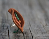 Pod ring - terracotta, coral, green turquoise, sterling silver base