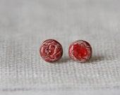 Red roses ceramic ear studs
