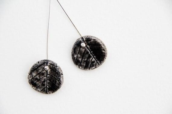 Black ceramic leaves dangle sterling silver earrings