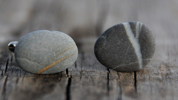 Beach stone cuff links for your boyfriend