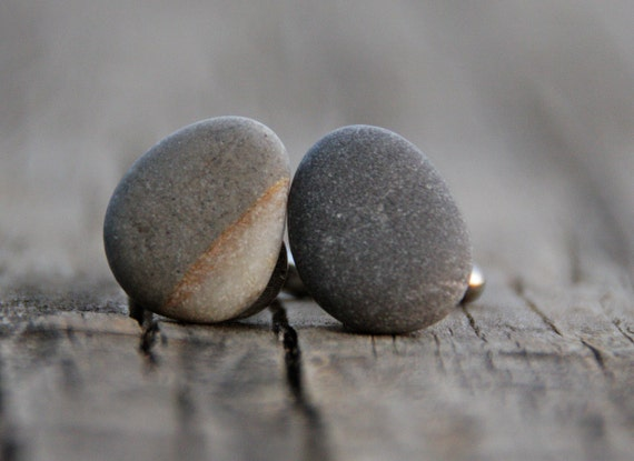 Beach stone cuff links Natural history Father's day