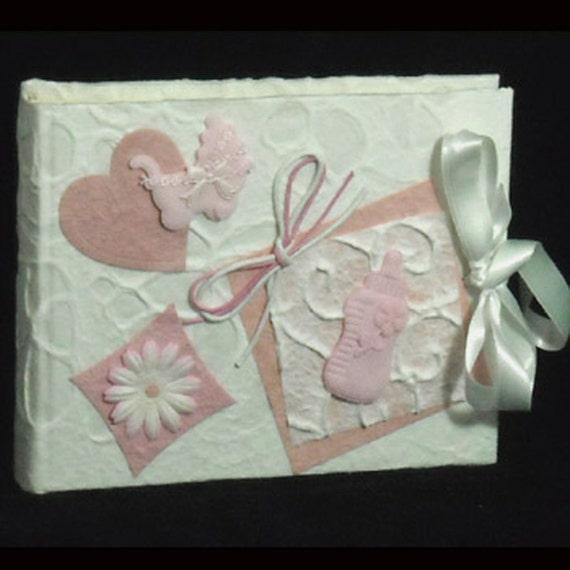 Handmade photo album embossed cotton paper for newborn or baptism baby girl original gift scrapbook