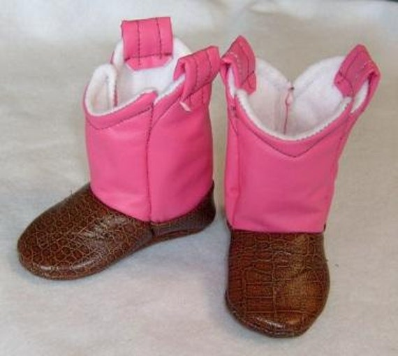 Baby Cowboy Boots Pink and Brown Leather by 2Fab on Etsy