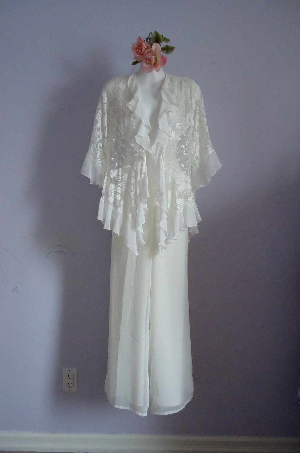Vintage Spencer Alexis Ivory Evening Formal Lounge Pant Suit