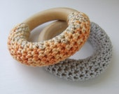 orange & grey hand-crocheted teething rings // set of two with organic bags