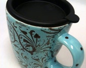 Travel Mug with handle in Turquoise and Brown