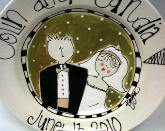 Bliss Wedding Plate Round- Personalized w/ name and color for wedding/anniversary