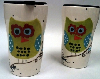 Travel Mug Hoot Owl - Be Happy