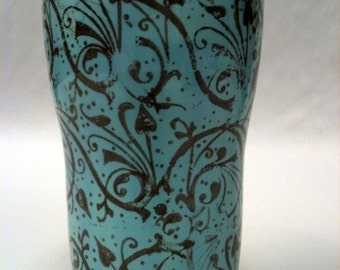 Travel Mug in Turquoise and Brown