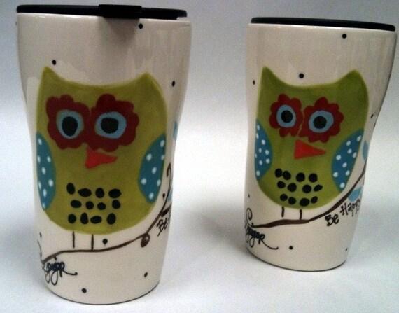 Travel Mug Hoot Owl - Be Happy
