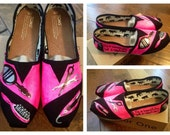 Hand Painted Hair Stylist TOMS Shoes Womens Size 8.5 Ready to Ship