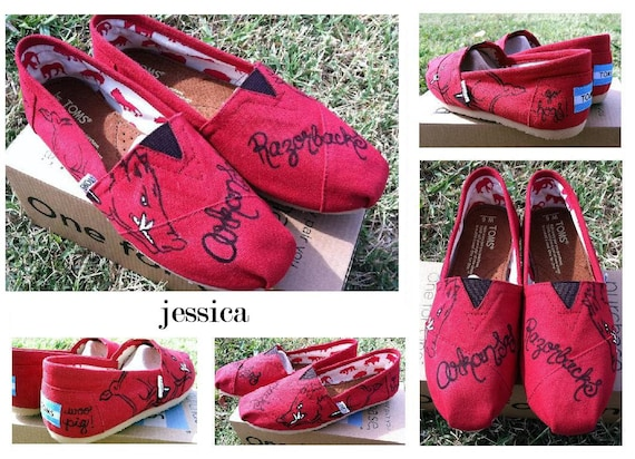 Hand Painted Arkansas Razorback TOMS Shoes - Womens Size 9 Ready to Ship