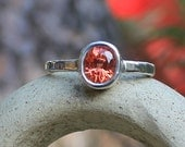 On Hold for L.Earlgrey 1.40ct Orange Sapphire And Argentium Sterling Silver Ring SZ 6