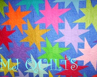 """Amazing """"Star Bright""""  82"""" X 96""""-Handmade Quilt-Patchwork Quilt - Made in USA by MJ Quilts-Free Shipping"""