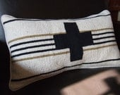 Repurposed Striped Rug And Swiss Cross Pillow