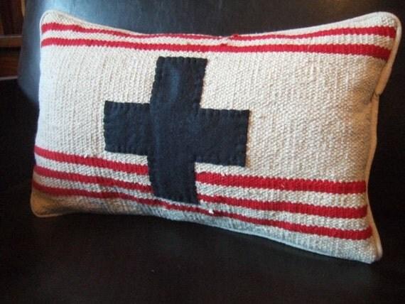 Repurposed Striped Rug Swiss Cross Pillow